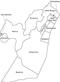 towns cities boroughs communities in Hudson County, NJ