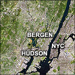 aerial view of Northern New Jersey including Bergen County & Hudson County